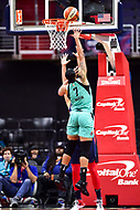 Washington, DC - June 15, 2018: New York Liberty center Kia Vaughn (7) shoots a hook shot over Washington Mystics guard Elena Delle Donne (11) during game between the Washington Mystics and New York Liberty at the Capital One Arena in Washington, DC. (Photo by Phil Peters/Media Images International)