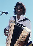 Buckwheat Zydeco. Sept 1990, San Francisco Blues Festival. American accordionist and zydeco musician. He is one of the few zydeco artists to achieve mainstream success. His music group is formally billed as Buckwheat Zydeco and Ils Son Partis Band, but often they perform as merely Buckwheat Zydeco.<br />