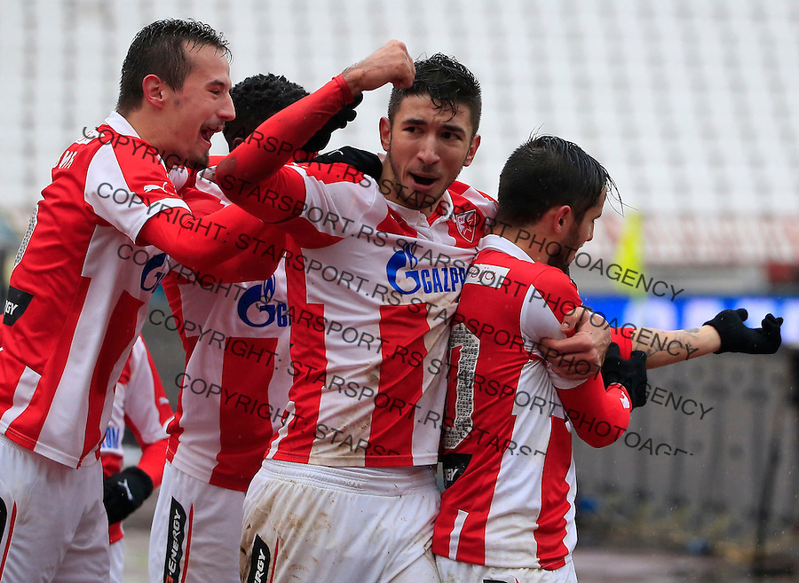 Fudbal Jelen Super League season 2015-2016<br /> Crvena Zvezda v Vozdovac<br /> Hugo Oliveira Vieira (R) celebrate the goal with the  Marko Grujic and Vukasin Jovanovic<br /> Beograd, 28.11.2015.<br /> foto: Srdjan Stevanovic/Starsportphoto&copy;