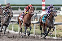 HALLANDALE BEACH, FL - MAR 31:Audible #8 trained by Todd A. Pletcher with John Velazquez in the irons contends for the lead as the field passes the final turn and heads down the home stretch on the way to winning the Xpressbet Florida Derby (G1) at Gulfstream Park on March 31, 2018 in Hallandale Beach, Florida. (Photo by Bob Aaron/Eclipse Sportswire/Getty Images)