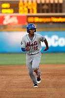 Kingsport Mets infielder Yoel Romero (15) running the bases during a game against the Burlington Royals at Burlington Athletic Complex on July 28, 2018 in Burlington, North Carolina. Burlington defeated Kingsport 4-3. (Robert Gurganus/Four Seam Images)