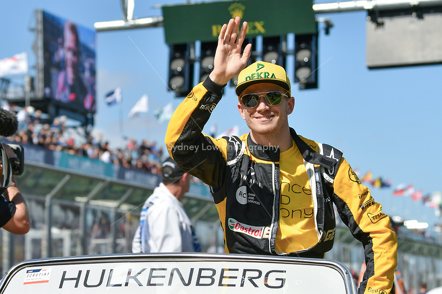 March 25, 2018: Nico Hulkenberg (DEU) #27 from the Renault Sport F1 team waves to the crowd during the drivers' parade at the 2018 Australian Formula One Grand Prix at Albert Park, Melbourne, Australia. Photo Sydney Low