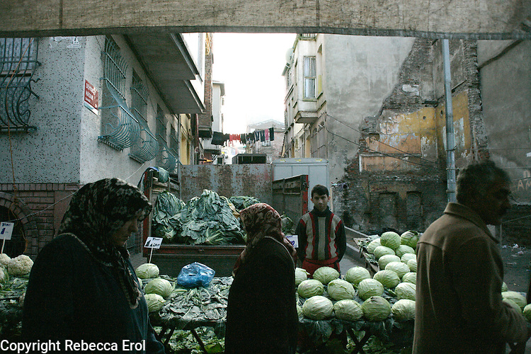 Cabbages for sale at a fresh fruit and vegetable market, Istanbul, Turkey