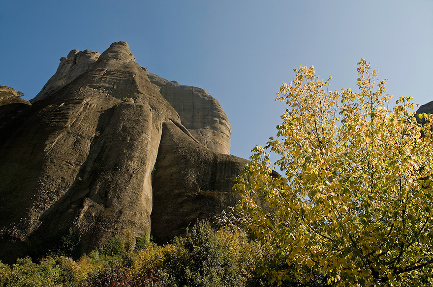 Greece, Meteora cliff in autumn colors