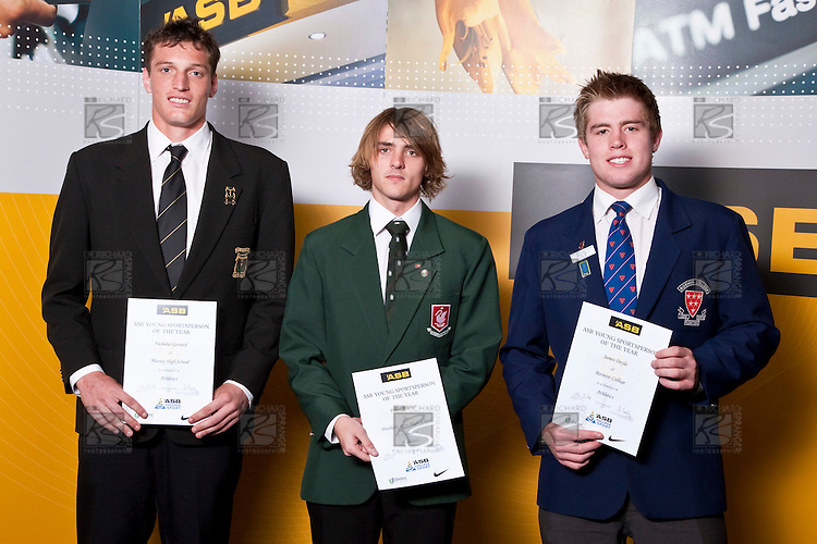 Boys Athletics finalists Nicholas, Fraser Wickes & James Doyle.  Gerrad,  ASB College Sport Auckland Secondary School Young Sports Person of the Year Awards held at Eden Park on Thursday 12th of September 2009.
