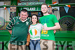 Fans l-r  Mike McCarthy, Muireann Dineen and Joe Stack. watching the EURO's Ireland v France at the Huddle Bar on Sunday