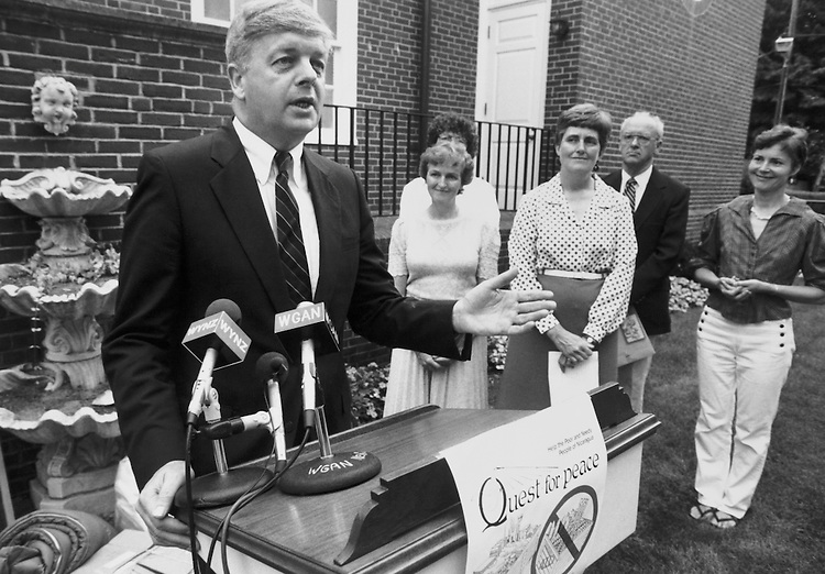 Rep. Joseph E. Brennan, D-Maine giving speech. September 9, 1987. (Photo by CQ Roll Call)