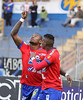 PASTO - COLOMBIA -07-08-2016: Los jugadores de Deportivo Pasto celebran el gol anotado a Cortulua, durante partido Deportivo Pasto y Atletico Junior, por la fecha 5 de la Liga Aguila II 2016, jugado en el estadio Departamental Libertad de la ciudad de Pasto.  / The players of Deportivo Pasto celebrate a scored goal to Cortulua, during a match Deportivo Pasto and Atletico Junior, for the date 5 of the Liga Aguila I 2016 at the Departamental Libertad stadium in Pasto city. Photo: VizzorImage. / Leonardo Castro / Cont.