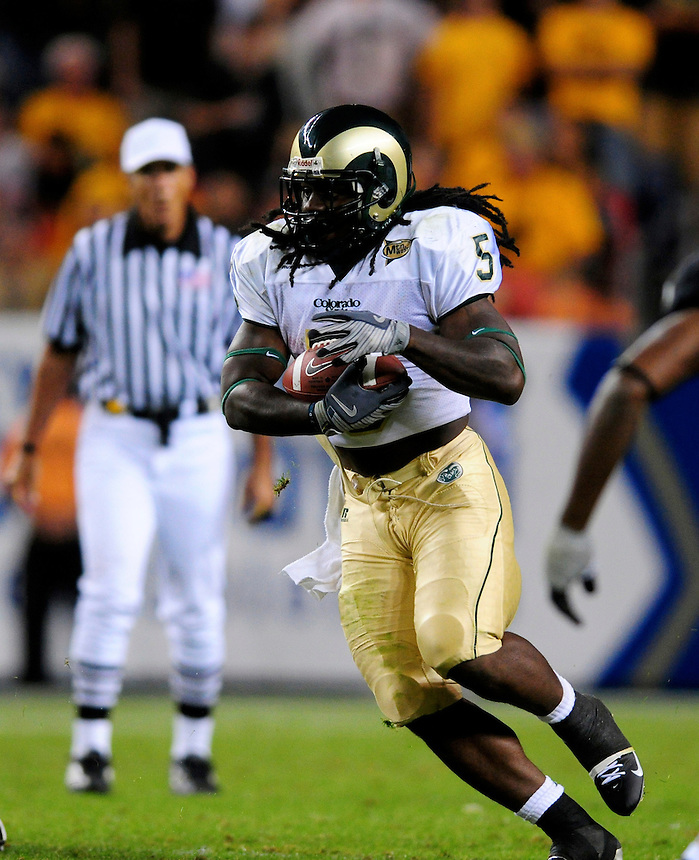31 Aug 2008: Colorado State running back Gartrell Johnson advances the ball against Colorado. The Colorado Buffaloes defeated the Colorado State Rams 38-17 at Invesco Field at Mile High in Denver, Colorado. FOR EDITORIAL USE ONLY