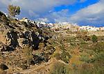 Buildings perched on edge of clifftop, Sorbas, Almeria, Spain