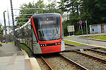 Light rail city transport system tram train,  Bergen, Norway destination Byparken