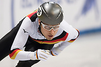 1st February 2019, Dresden, Saxony, Germany; World Short Track Speed Skating; 500 meter men in the EnergieVerbund Arena. Luca Ler from Germany runs in a curve.