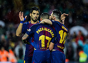 4th November 2017, Camp Nou, Barcelona, Spain; La Liga football, Barcelona versus Sevilla; Luis Suarez, Paco Alcacer and Leo Messi celebrate their goal for 1-0