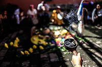 Ritual, ceremonia guerrero Jaguar en la cosmovision Anáhuac, impartido por la Dr. Rosario Gonzalez Lopez, durante las festividades del día Jaguar en Alamos Sonora. 5oct2019. <br />  (© Photo: LuisGutierrez / NortePhoto.com)