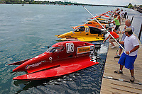 26  July, 2009, Trenton, Michigan USA.Chris Whensler (#16), Milo Degugas (#83) and Rob Rinker (#1),lead the field of the dock in heat 3 of SST-45..©2009 F.Peirce Williams USA.SST-45 class