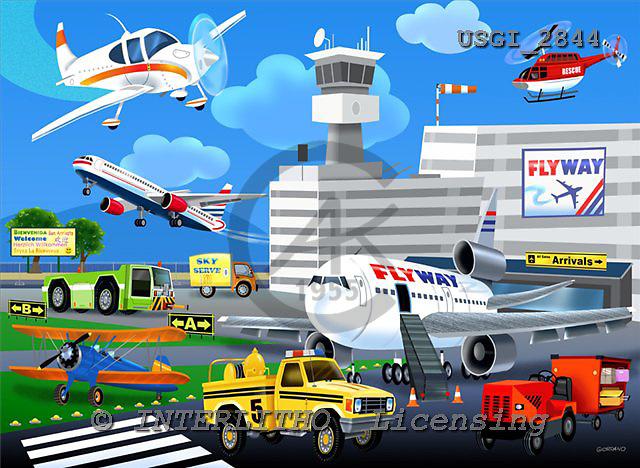 GIORDANO, TEENAGERS, JUGENDLICHE, JÓVENES, paintings+++++,USGI2844,#J# airport,planes ,puzzle ,everyday