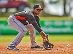 9 March 2013: Miami Marlins infielder Yordy Cabrera warms up prior to a Spring Training game against the Washington Nationals at Space Coast Stadium in Viera, Florida. The Nationals edged out the Marlins 8-7 in Grapefruit League play. Mandatory Credit: Ed Wolfstein Photo *** RAW (NEF) Image File Available ***