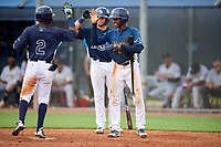 GCL Rays Abiezel Ramirez (2) high fives Dawson Dimon (14) and Johan Lopez (right) after hitting a home run during a Gulf Coast League game against the GCL Pirates on August 7, 2019 at Charlotte Sports Park in Port Charlotte, Florida.  GCL Rays defeated the GCL Pirates 5-3 in the second game of a doubleheader.  (Mike Janes/Four Seam Images)