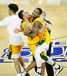 SIOUX FALLS, SD - MARCH 10: Tyson Ward and Vinnie Shahid of the North Dakota State Bison embrace after defeating the North Dakota Fighting Hawks 89-53 during the men's championship game at the 2020 Summit League Basketball Tournament in Sioux Falls, SD. (Photo by Richard Carlson/Inertia)