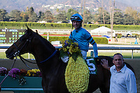Tyler Baze aboard Lucky Primo winner of the Lava Man Cal Cup Classic at Santa Anita Park in Arcadia, California on October 13, 2012.