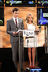 Jim Parsons & Kristin Chenoweth.announcing the 2012 Tony Award Nominations at Lincoln Center on 5/1/2012 in New York City. © Walter McBride / Retna Ltd.