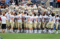 Sept. 19, 2009; Provo, UT, USA; Florida State Seminoles players huddle together prior to the game against the BYU Cougars at LaVell Edwards Stadium. Mandatory Credit: Mark J. Rebilas-