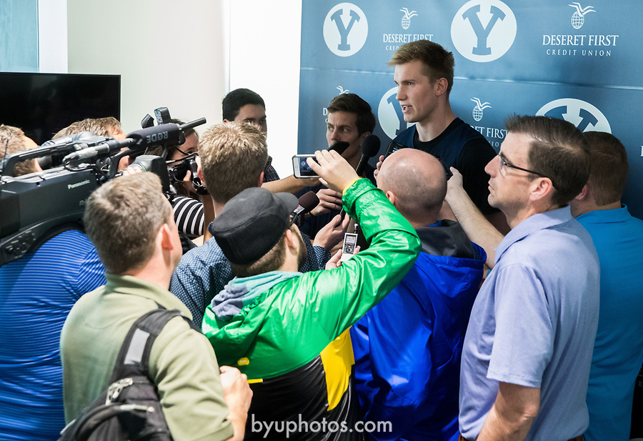 16-17mBKB Eric Mika Press Conf 026<br /> <br /> 16-17mBKB Eric Mika Press Conference<br /> <br /> BYU Basketball's Eric Mika holds a press conference to announce that he will declare for the NBA draft.<br /> <br /> March 22, 2017<br /> <br /> Photo by Jaren Wilkey/BYU<br /> <br /> &copy; BYU PHOTO 2017<br /> All Rights Reserved<br /> photo@byu.edu  (801)422-7322