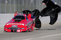 Nov 13, 2010; Pomona, CA, USA; NHRA funny car driver Bob Tasca III during qualifying for the Auto Club Finals at Auto Club Raceway at Pomona. Mandatory Credit: Mark J. Rebilas-
