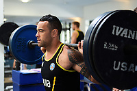Kahn Fotuali'i of Bath Rugby in the gym. Bath Rugby pre-season training on July 2, 2018 at Farleigh House in Bath, England. Photo by: Patrick Khachfe / Onside Images
