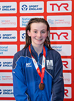 Picture by Allan McKenzie/SWpix.com - 05/08/2017 - Swimming - Swim England National Summer Meet 2017 - Ponds Forge International Sports Centre, Sheffield, England - Emily Tomlin-Davies takes bronze in the womens 14yrs 50m breaststroke.