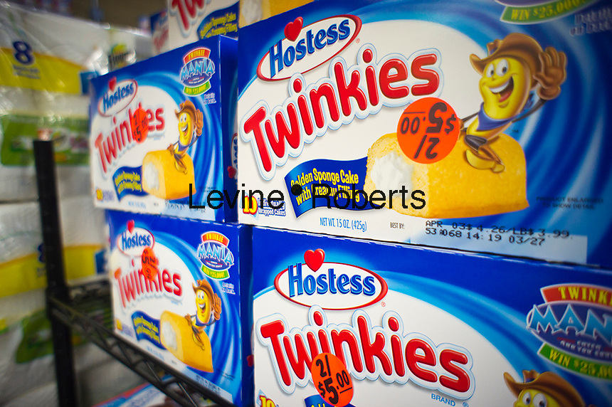 Boxes of creme-filled, tasty Twinkies is seen on Friday, March 25, 2011 in the baked goods department of a supermarket in New York. (© Richard B. Levine)