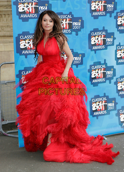 SARAH BRIGHTMAN.The Classical Brit Awards 2007, Royal Albert Hall, London, England. .May 3rd, 2007.full length red dress material feathers feather platform shoes.CAP/AH.©Adam Houghton/Capital Pictures
