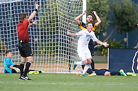 BERKELEY, CA - October 13, 2016: UCLA's Jackson Yueill (15) celebrates scoring a goal as Cal's Jonathan Klinsmann (left) and Trevor Haberkorn react. Cal played UCLA at Edwards Stadium.