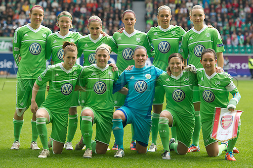 21.04.2013. Wolfsburg, Germany. Womens Champions League, Wolfsburg versus Arsenal, second leg.  Wolfsburg team line-up pre-game