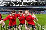Gavan O'Grady, Caoilm Teahan and Daniel Griffin Glenbeigh Glencar players celebrate their victory over Rock Saint Patricks in the Junior Football All Ireland Final in Croke Park on Sunday.