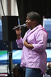 Alex Newell performing at the United Airlines Presents: #StarsInTheAlley Produced By The Broadway League on June 1, 2018 in New York City.
