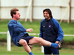 Paul Gascoigne and Marco Negri at Rangers training