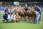 The Hague, Netherlands, June 14: Team of Argentina pose after the field hockey bronze medal match (Women) between USA and Argentina on June 14, 2014 during the World Cup 2014 at Kyocera Stadium in The Hague, Netherlands. Final score 2-1 (2-1)  (Photo by Dirk Markgraf / www.265-images.com) *** Local caption ***
