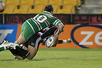 Matty James fails to stop Lelia Masaga from scoring his second try during the Air New Zealand rugby game between Counties Manukau Steelers & Manawatu, played at Mt Smart Stadium on the 22nd of September 2006. Counties Manukau 25 - Manawatu 25.