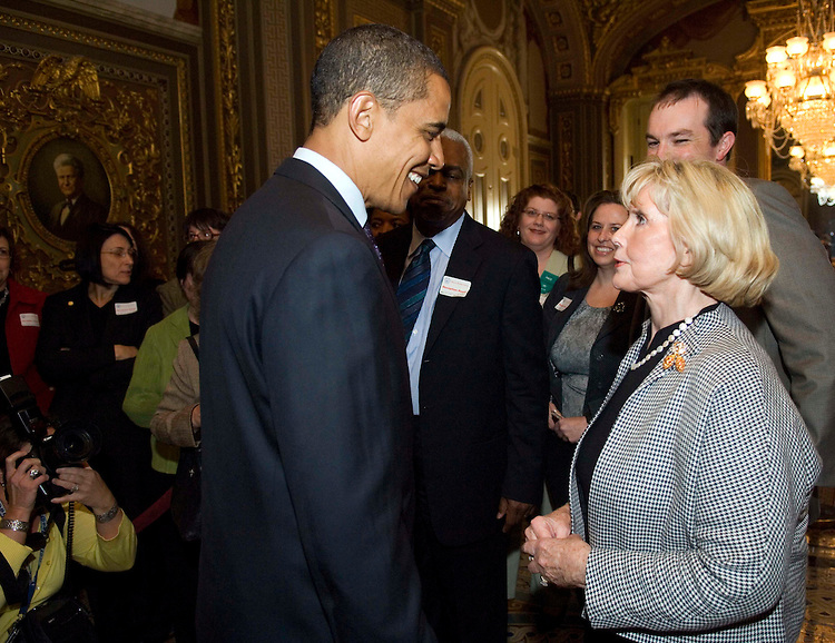 WASHINGTON, DC - April 23: Presidential candidate Sen. Barack Obama, D-Ill., with Lilly Ledbetter after the Senate failed to invoke cloture on a motion to proceed, 56-42, on a bill carrying Ledbetter's name. The bill, the Lilly Ledbetter Fair Pay Act, would make it easier for women to sue their employers for pay discrimination. The root of the bill is last May's Supreme Court decision in Ledbetter v. Goodyear Tire and Rubber Co. Ledbetter, the area manager of the plant, had sued the company after learning that her salary had been 15 percent less than that of the lowest-paid male employee in her position for several years. (Photo by Scott J. Ferrell/Congressional Quarterly)