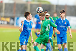 Owen Benson of Kerry controls the ball despite the pressure from Cian Brown of Waterford in the U17 soccer league game on Sunday.