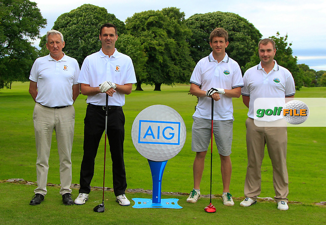 Michael Ryan &amp; Liam Browne (Athlone) and Evan Kilroy &amp; Pat Ryan (Gort) at the 1st tee during the AIG Connacht Pierce Purcell Shield Semi-Finals of the AIG Connacht Cups &amp; Shields Finals 2016 at Ballinrobe Golf Club, Ballinrobe Co. Mayo on Saturday 6th August 2016.<br /> Picture:  Golffile | Thos Caffrey<br /> <br /> All photos usage must carry mandatory copyright credit   (&copy; Golffile | Thos Caffrey)