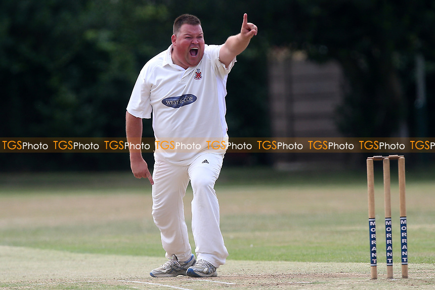M Whitlock of Hornchurch claims the wicket of S Rahman during Upminster CC vs Hornchurch CC, Shepherd Neame Essex League Cricket at Upminster Park on 8th July 2017