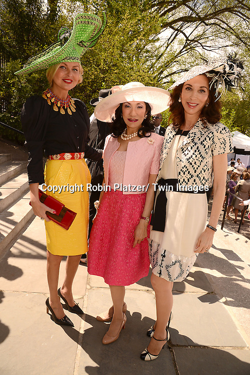 Barbara Regnao, Patricia Shiah and Fe Fend attend the 32nd Annual Frederick Law Olmsted Awards Hat Luncheon given by The Central Park Conservancy on May 7,2014 in Central Park in New York City, NY USA.
