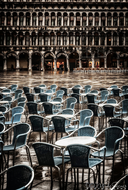A wet day in Piazza San Marco in Venice Italy