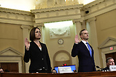 Dr. Fiona Hill, former Senior Director for Europe and Russia, National Security Council (NSC), left, and David A. Holmes, Political Counselor, United States Embassy in Kyiv, Ukraine, on behalf of US Department of State, right, are sworn-in to testify during the US House Permanent Select Committee on Intelligence public hearing as they investigate the impeachment of US President Donald J. Trump on Capitol Hill in Washington, DC on Thursday, November 21, 2019.<br /> Credit: Ron Sachs / CNP<br /> (RESTRICTION: NO New York or New Jersey Newspapers or newspapers within a 75 mile radius of New York City)