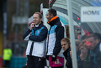 Wycombe Wanderers Assistant Manager Richard Dobson talks to Barry Richardson of Wycombe Wanderers during the Sky Bet League 2 match between Wycombe Wanderers and Portsmouth at Adams Park, High Wycombe, England on 28 November 2015. Photo by Andy Rowland.