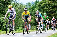 Picture by Alex Whitehead/SWpix.com - 14/07/2017 - Cycling - Le Tour de France - Stage 13, Saint-Girons to Foix - Team Sky's Chris Froome, Astana's Fabio Aru, AG2R La Mondiale's Romain Bardet and Cannondale Drapac's Rigoberto Uran summit the Mur de Peguere.