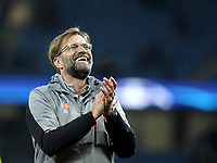 Liverpool manager Jurgen Klopp celebrates at the final whistle<br /> <br /> Photographer Rich Linley/CameraSport<br /> <br /> UEFA Champions League Quarter-Final Second Leg - Manchester City v Liverpool - Tuesday 10th April 2018 - The Etihad - Manchester<br />  <br /> World Copyright &copy; 2017 CameraSport. All rights reserved. 43 Linden Ave. Countesthorpe. Leicester. England. LE8 5PG - Tel: +44 (0) 116 277 4147 - admin@camerasport.com - www.camerasport.com