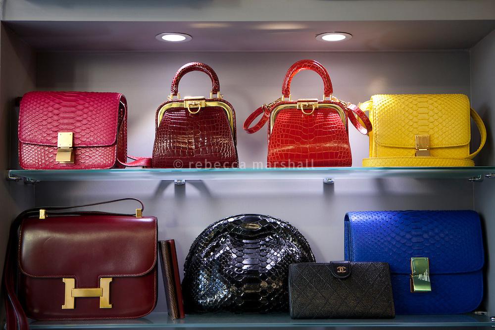 Handbag display at boutique 'Le Dressing', Rue Princesse Florestine, La Condamine, Monaco, 5 July 2013. Brands include Christian Dior, Hermes, Celine and Python.